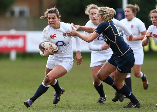 Leading the way: Richmond Women's Abigail Chamberlain, left, captains the England Women Sevens squad at the IRB world sevens series in Atlanta this weekend    Picture: Getty Images