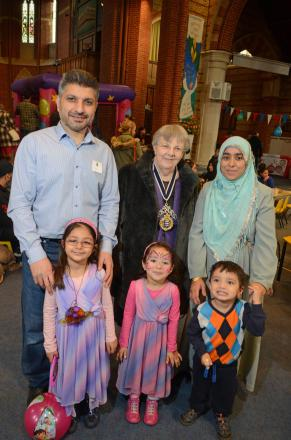 Khalid Nazir, Mayor Penny Shelton and Tabassum Nazir with children Aisha, Saba and Yaseen Nazir