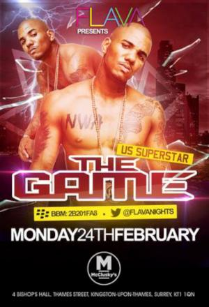 US rapper The Game to perform live on stage at McCluskeys tonight