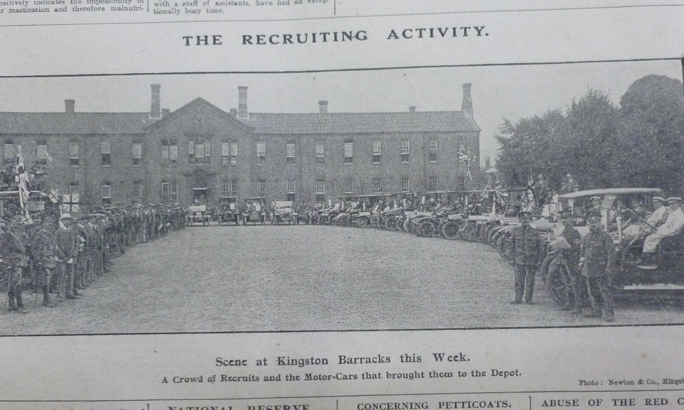 Recruits at Kingston barracks, from the Surrey Comet in 1914