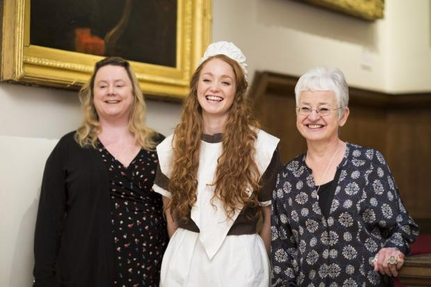 Writer Emma Reeves, Hetty Feather star Phoebe Thomas and Jacqueline Wilson at the launch of the new stage show inside the Foundling Museum in London. Picture Helen Maybanks