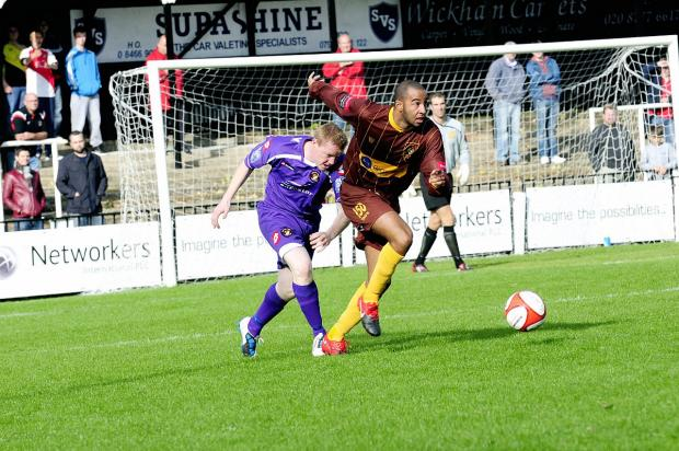 New man: Rhys Coleman, here in action for Robins'  rivals Cray Wanderers, made his debut for Stuart Massey on Tuesday night, but he could not prevent a 4-0 home defeat to Dulwich Hamlet		SP52241