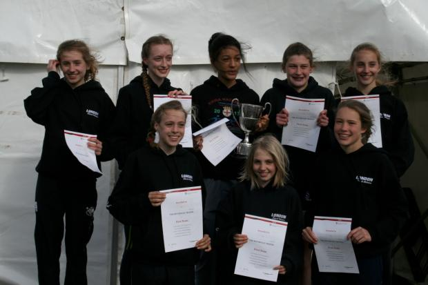 Winners: The London junior girls at the English Schools Cross-Country Championships featuring Katy Ann McDonald, Saskia Millard, Alex Brown, Eloise O'Shaughnessy and Eimear Griffin