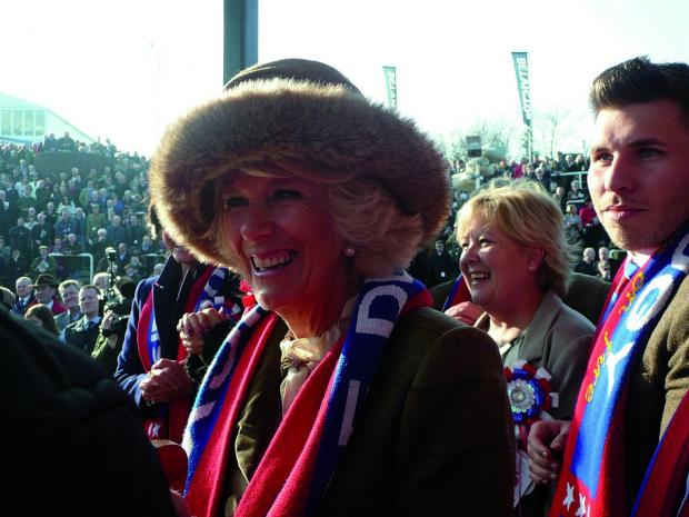 Surrey Comet: The Duchess of Cornwall was given one of the Sire De Grugy scarves