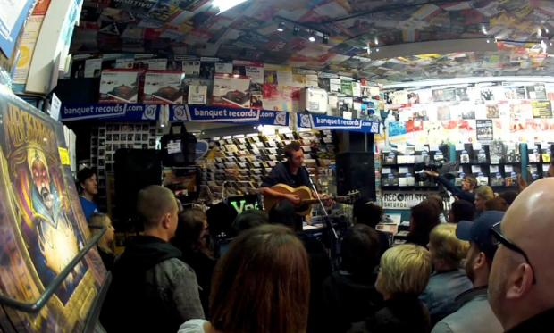 Tom Smith performs instore at Banquet Records at the launch of Record Store Day