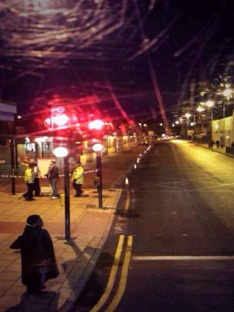 Kingston's Cromwell Road bus station is taped off this evening Pic: Goldie Aboutorabi