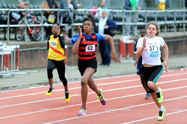 Speedy: Barbara Folayan, 12, in action over 100m                  All pictures: SP84354
