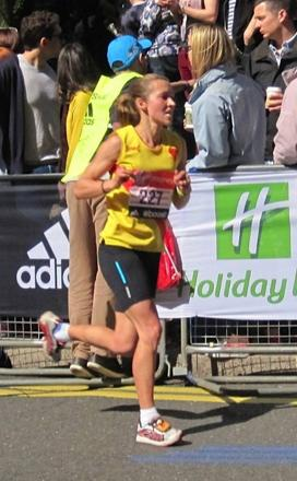 Top running: Claire Grima finished sixth in the women's over-35s London marathon