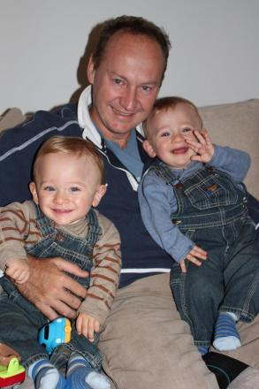 Husband Gary Clarence with his twin sons Max and Ben