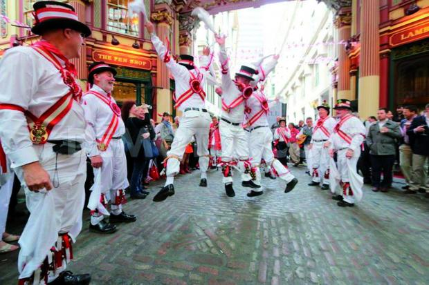 Ewell St Mary's Morris Men dance at Leadenhall Market