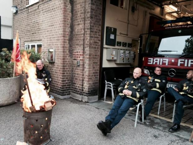 Surrey Comet: Firefighters outside Battersea Fire Station during the strike on Friday, May 2