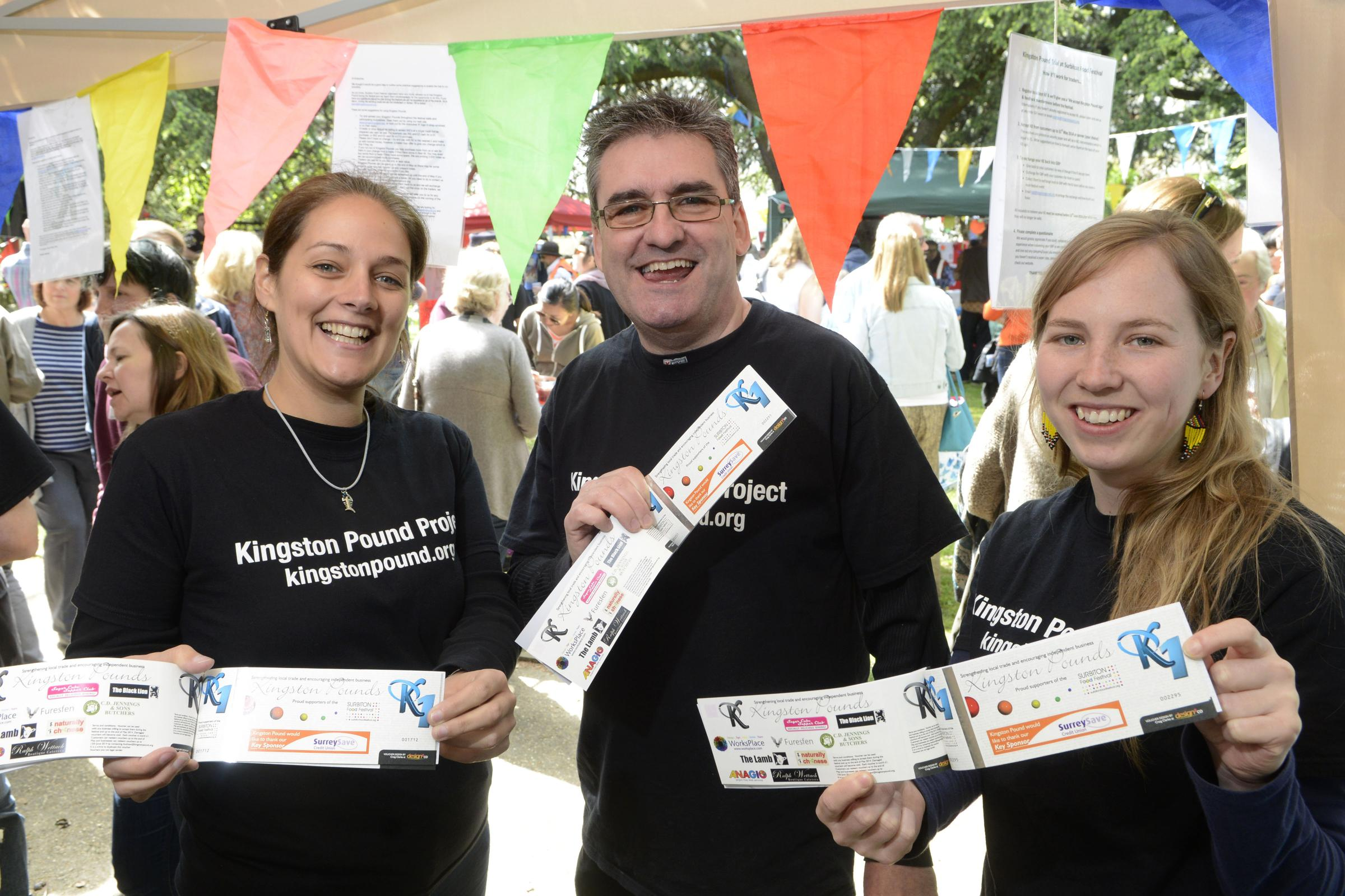 Kat Hipsey, Andrew Connolly and Saskia Baard at the new Kingston Pound stall