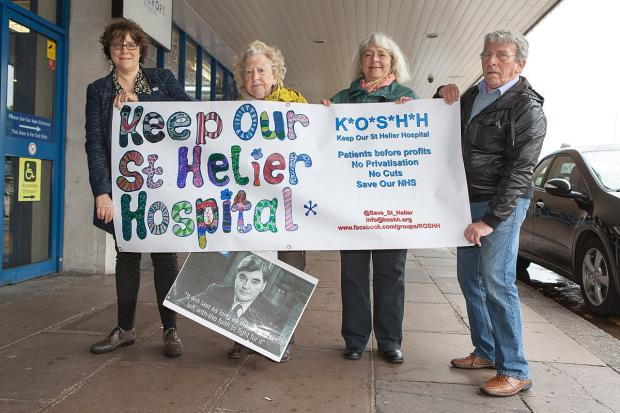 Surrey Comet: Health campaigners Frances Cornford, June Hautot, Sandra Ash, David Ash outside the SWLCCG meeting