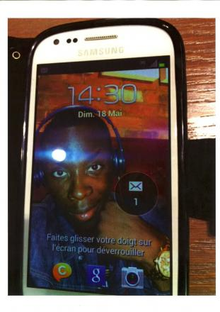 This mobile phone was recovered by police showing a smiling selfie of Germain Ibrahim Fofana