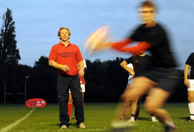 Scottish bound: Former England scrum half Peter Richards takes a coaching session at Weybridge Vandals