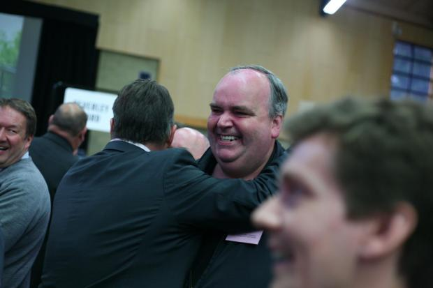 Conservative Ian George celebrates victory