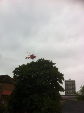 The London Air Ambulance taking off from Cambridge Gardens after an accident in Hawks Road. Credit: @slipnat