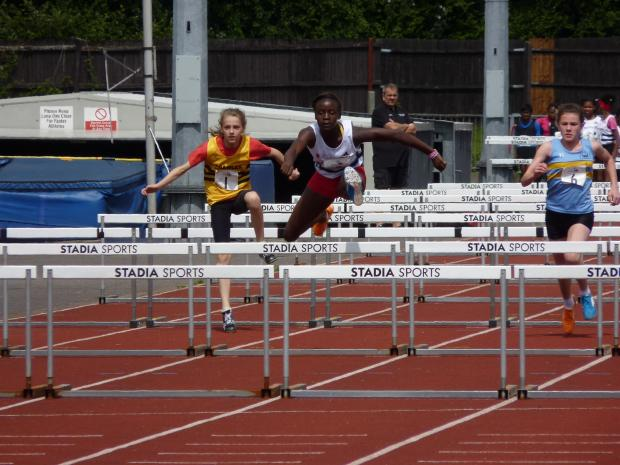 Triple winner: Croydon Harriers' Marcia Sey in action at the UK Youth Development League meeting