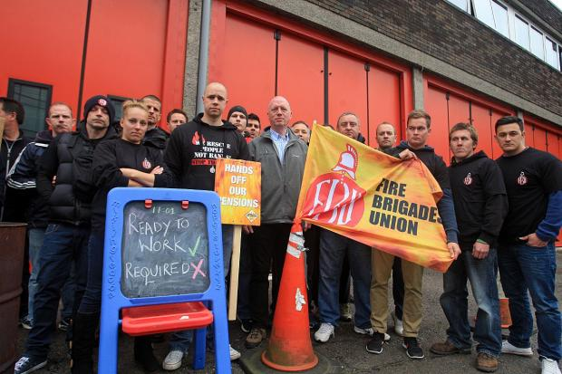 Firefighters are on strike today in a row over pensions