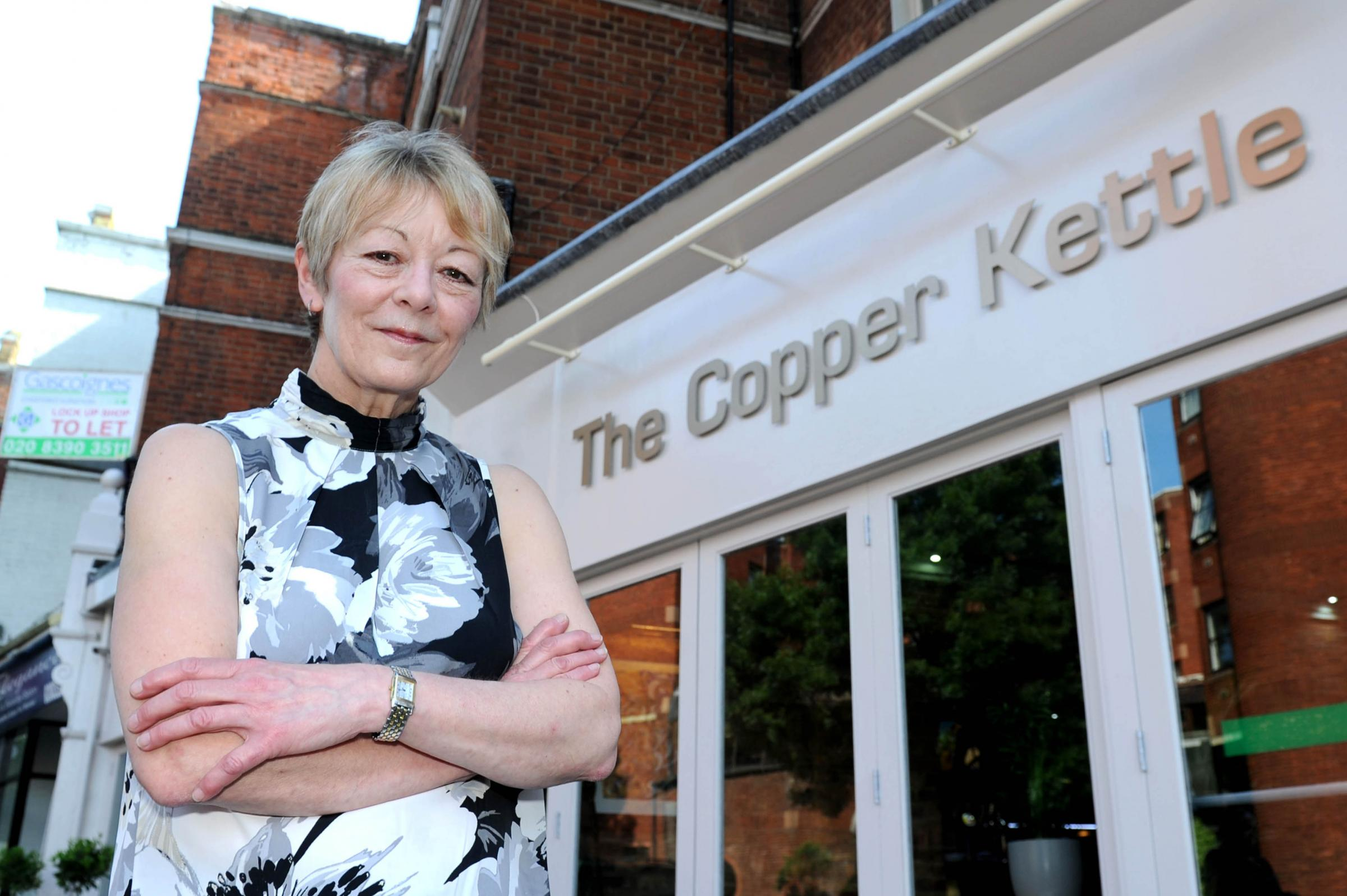 Landlord Madeline Bartley outside the newly named Copper Kettle