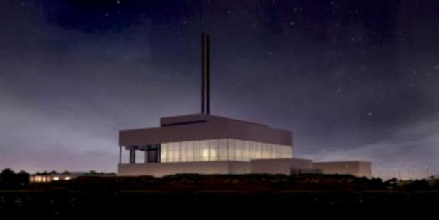 Surrey Comet: An artists impression of the incinerator by night