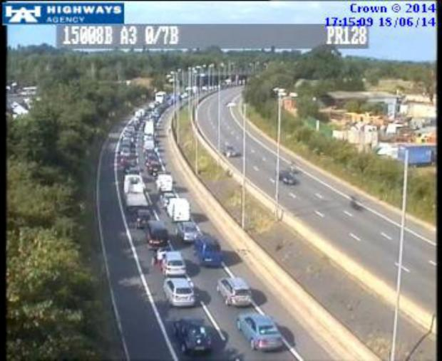 The Highways Agency traffic camera shows the A3 northbound just south of the A309 Kingston bypass