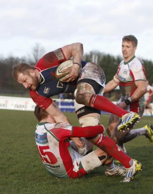 Surrey Comet: Familiar pose: Mark Bright on the charge for London Scottish last season