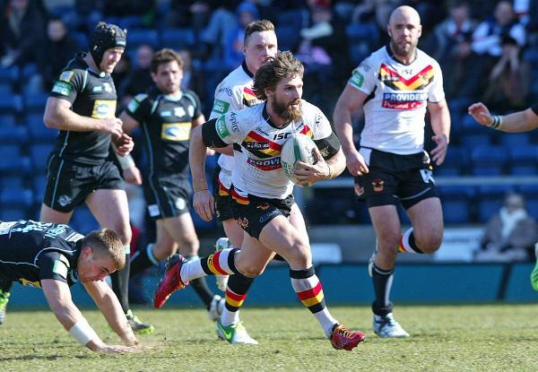 Down: London Broncos, in black, and Bradford Bulls were relegated from Super League this season