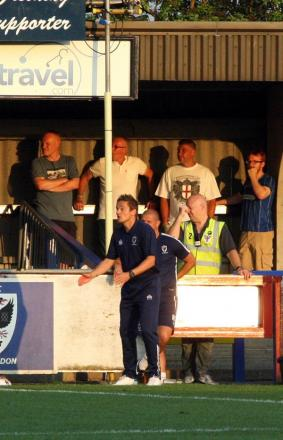 Sort it out: Neal Ardley starts to lose his rag in the 2-1 win over Sutton United on Tuesday night