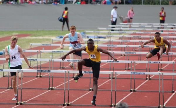 Hurdles: Rob Sakala won the 100m hurdle dash at the U17s meeting of the Southern Inter-Counties fixtures