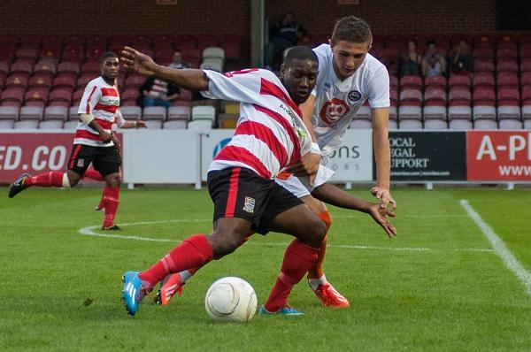 In: Ks new boy Chris Henry in action against Braintree Town on Monday, having signed from Carshalton Athletic 	SP86594