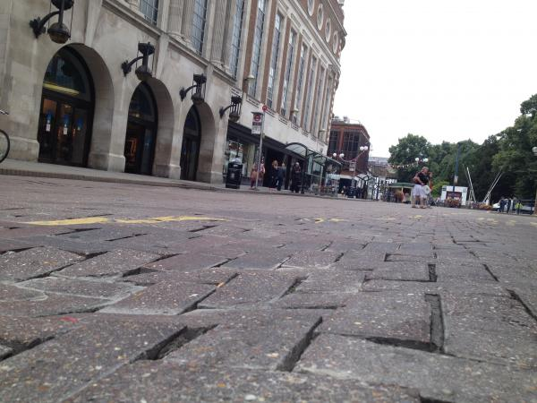 Buckled: the paving in Wood Street