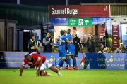 Fighting spirit: Matt Tubbs and co celebrate his second goal in the 3-1 Tuesday night's win over York City