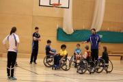 New skills: Wheelchair basketball players receive coaching at Teddington Sports Centre