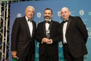 Honoured: Stef Loucaides collected his award from Sir Trevor Brooking and the FA's Les Howie earlier this month