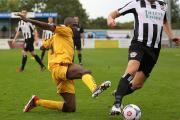 Off: Bedsente Gomis was sent off in the FA Trophy at Hemel Hempstead Town on Saturday             Picture: Paul Loughlin