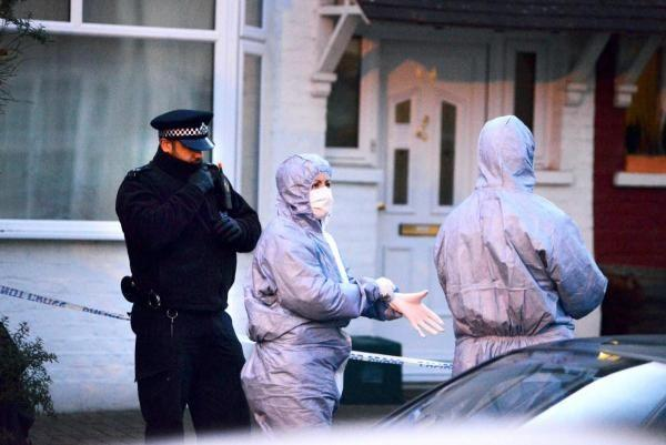 Police and forensics in Stanley Avenue on Monday