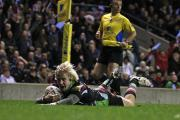 Fast Walker: Charlie Walker scores a try against this Saturday's opponents Exeter Chiefs at Twickenham in 2013