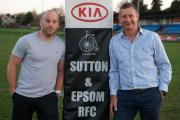 Welcome home: Former England international Paul Hodgson, left with director of rugby Rowland Cheall, is returning to Sutton & Epsom for next season