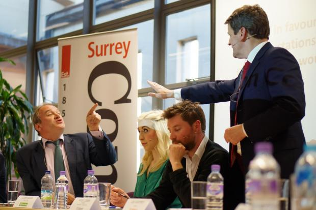 Ed Davey and Lee Godfrey discuss their respective stances. Pic: Kai Lyu