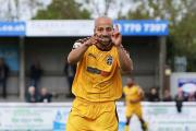 Going away gift? Dale Binns enjoys his goal against Maidenhead on Saturday in Sutton United's last game of the season        Picture: Paul Loughlin
