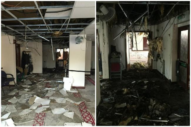 The damage caused by the fire at Kingston Mosque earlier this year.