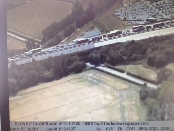Traffic chaos in July as six people ran across M25