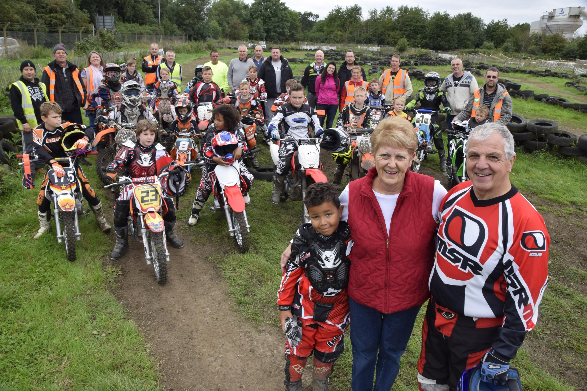 Anne and Vic Allan who ran the club with their grandson Tyla Hendry and other riders