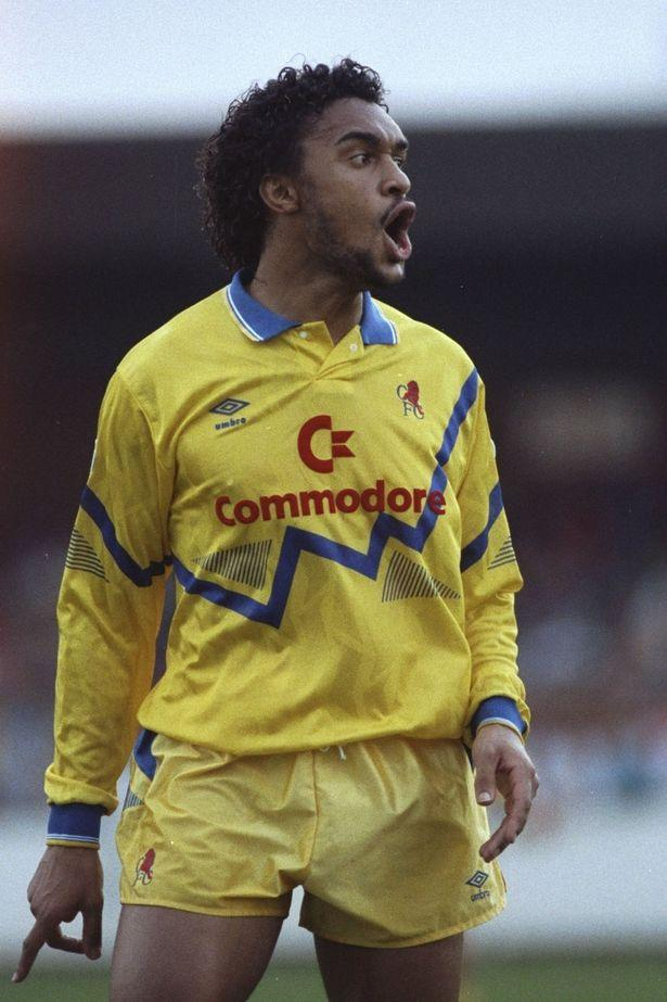 Back in the day: Paul Elliott in his Commodore emblazoned Chelsea days....