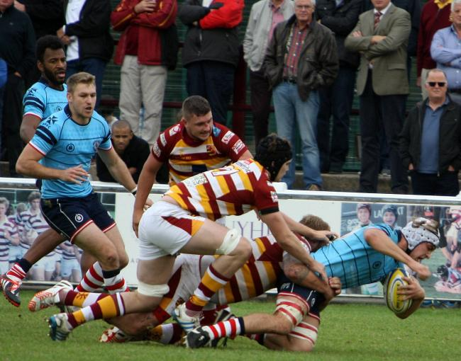 Forging ahead: Rosslyn Park's Sam Shire, far right    		        Pictures: David Whittam