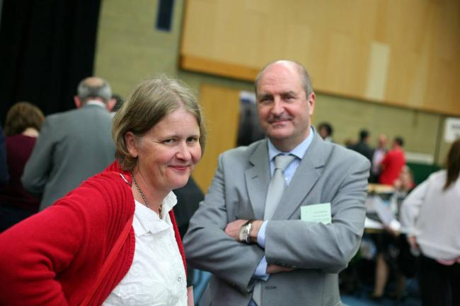 Kingston Lib Dem leader Liz Green with Bruce McDonald at the local election vote count in 2014
