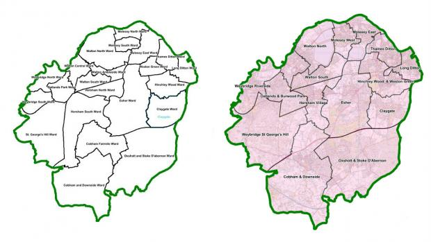 A before (left) and after (right) picture shows the change in ward boundaries