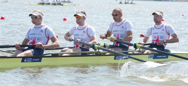 Winners: Moe Sbihi, second from right, with Molesey Boat Club team-mate George Nash, second from left, in action at the European Championships               Pictures: Peter Spurrier/Intersport Images