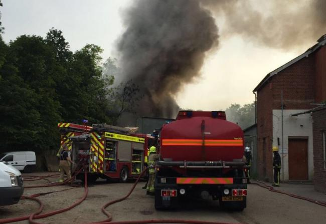 Crews were called just after 7:30pm to the large fire in Old Malden Lane. (Pic: Kingston police)